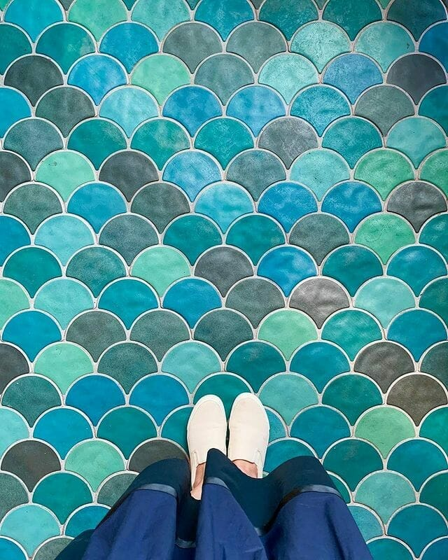 Colourful Moroccan fish scale tiles
